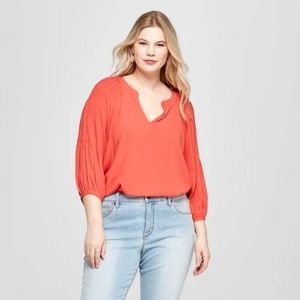 Women's Plus Size Pleated 3/4 Sleeve Blouse - XL